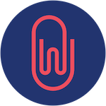 Red Wemla paper clip logo on navy background