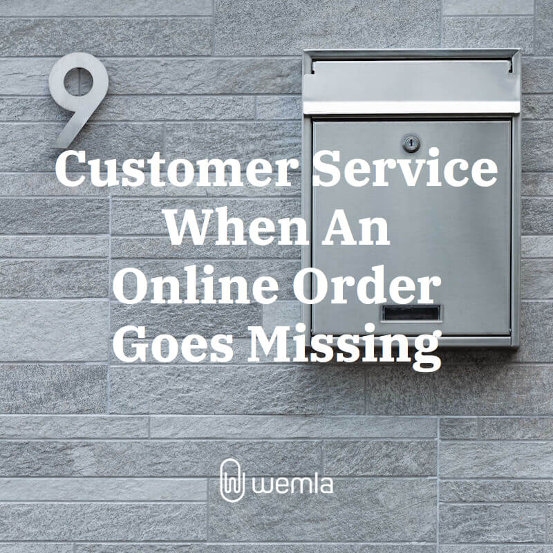 "Grey stone wall, minimalist number 9, sleek metal mailbox, title ""Customer Service When An Online Order Goes Missing"", Wemla paperclip logo"